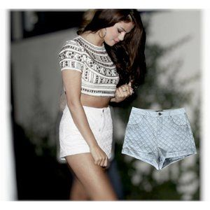 Zara Quilted High Waist Faux Leather Silver Shorts